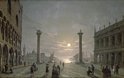 Moonlight Posters - The Grand Canal From Piazza San Marco Poster by Henry Pether