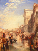 Romanticist Framed Prints - The Grand Canal Scene - a Street in Venice Framed Print by Joseph Mallord William Turner