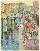American Artist Paintings - The Grand Canal Venice by Maurice Prendergast