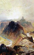Canyon Painting Posters - The Grand Canyo Poster by Thomas Moran