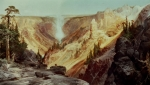 Cliffs Paintings - The Grand Canyon of the Yellowstone by Thomas Moran