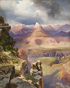 Landmarks Paintings - The Grand Canyon by Thomas Moran