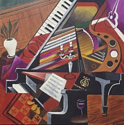 Candelabra Painting Prints - The Grand Piano Print by Bob Gregory