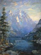 Pine Tree Painting Framed Prints - The Grand Tetons and Jenny Lake Framed Print by Lewis A Ramsey
