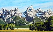 Grande Painting Framed Prints - The Grande Tetons Framed Print by Gaylon Dingler