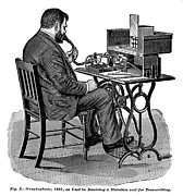 1880s Prints - The Graphophone, An Early Dictaphone Print by Everett