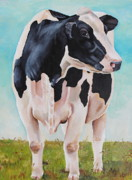 Calf Paintings - The grass is Always Greener by Laura Carey