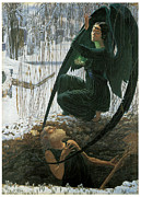 Cemetary Paintings - The Grave Diggers Death by Carlos Schwabe