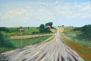 Gravel Road Painting Framed Prints - The Gravel Road  Framed Print by Troy Thomas