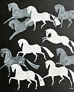 Trotting Paintings - The Grays in the Night by Liz Pizzo
