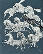 Trotting Paintings - The Grays by Liz Pizzo