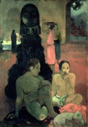 Worship God Paintings - The Great Buddha by Paul Gauguin