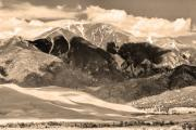 Lightning Wall Art Framed Prints - The Great Colorado Sand Dunes in Sepia Framed Print by James Bo Insogna