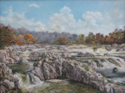 River View Paintings - The Great Falls by Tigran Ghulyan