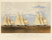 Sailing Ships Prints - The Great Ocean Yacht Race Print by Pg Reproductions