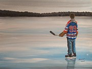 Hockey Player Painting Originals - The Great One by Ron  Genest