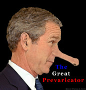 George Bush Mixed Media Prints - The Great Prevaricator Print by Warren Sarle