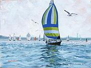 Boston Harbor Paintings - The Great Race 06 by Laura Lee Zanghetti