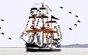 Jose Gasparilla Pirate Ship Posters - The great ship Gasparilla Poster by David Lee Thompson