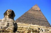 Great Sphinx Framed Prints - The Great Sphinx with the Khephren Pyramid in the background Framed Print by Sami Sarkis
