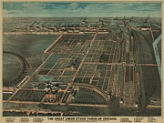 American Food Prints - The Great Union Stock Yards Of Chicago Print by Everett