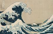 Wave Metal Prints - The Great Wave of Kanagawa Metal Print by Hokusai