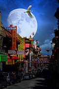 Night Scene Prints - The Great White Phoenix of Chinatown . 7D7172 Print by Wingsdomain Art and Photography