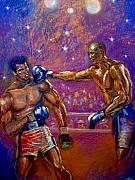 Johnson Pastels Posters - the Greatest  Muhammed Ali vs Jack Johnson Poster by Tommy  Winn