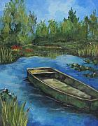 Green Boat Prints - The Green Boat at Giverny Print by Torrie Smiley