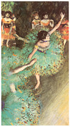 Ballerinas Pastels Metal Prints - The Green Dancer Metal Print by Edgar Degas