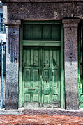 French Door Digital Art Prints - The Green Door in the French Quarter Print by Bill Cannon