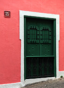 Puerto Rico Photo Prints - The Green Door Print by John Rizzuto