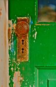 Knob Framed Prints - The Green Door Framed Print by Karon Melillo DeVega