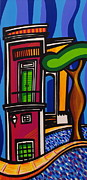 Modern Art Paintings - The Green Door by Mary Tere Perez