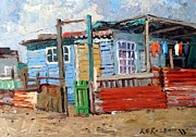 Tin Roof Paintings - The Green Gate by Roelof Rossouw