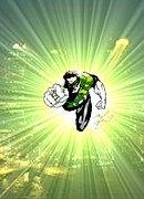 Super Hero Drawings - The Green Lantern by Michael Dijamco