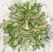 Tile Ceramics Posters - The Green Man Poster by Angelina Whittaker Cook