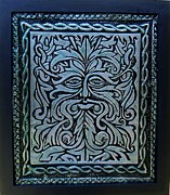 Green Reliefs Metal Prints - The Green Man Metal Print by Cacaio Tavares
