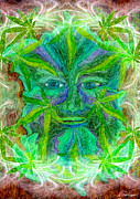 Weed Pastels Metal Prints - The Green Man Metal Print by Diana Haronis