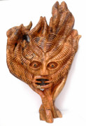Olive Wood Sculpture - The Green Man by Eric Kempson