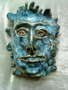 Man Ceramics Posters - The Green Man Poster by Paula Maybery