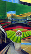 Boston Red Sox Drawings Framed Prints - The Green Monster Framed Print by Chris Ripley