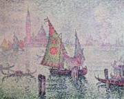 Venetian Canals Framed Prints - The Green Sail Framed Print by Paul Signac