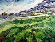 Fields Painting Posters - The Green Wheatfield behind the Asylum Poster by Vincent van Gogh