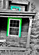 Abandoned Houses Posters - The Green Window Poster by Emily Stauring