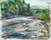 Jan Anderson Watercolors - The Greenbrier River  West Virginia by Jan Anderson