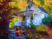 Autumn Scene Painting Framed Prints - The Greeter Framed Print by Jai Johnson