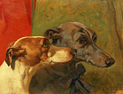 Ribbon Painting Posters - The Greyhounds Charley and Jimmy in an Interior Poster by John Frederick Herring Snr