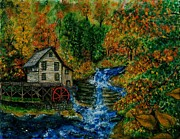 Grist Mill Paintings - The Grist Mill in Autumn by Tanna Lee M Wells