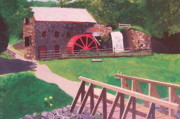 Sudbury Ma Painting Posters - The Gristmill at Wayside Inn Poster by William Demboski